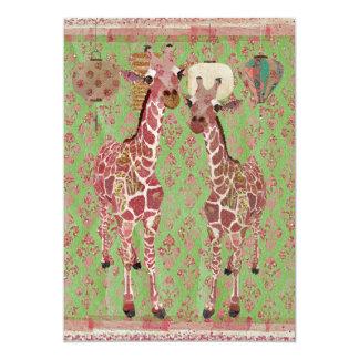 Gentle Giraffes Pink Baby Shower Invitation