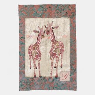Gentle Giraffes Pink Monogram Towels