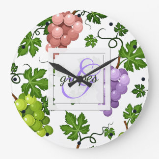 Gentle Grapes and Grapevines Large Clock