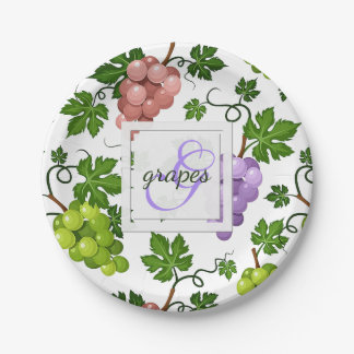 Gentle Grapes and Grapevines Paper Plate