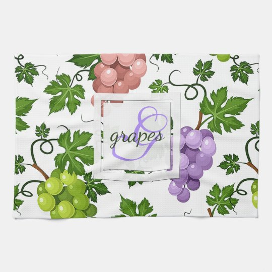 Gentle Grapes and Grapevines Tea Towel
