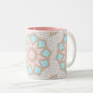 Gentle Pink & Blue Kaleidoscope Two-Tone Coffee Mug