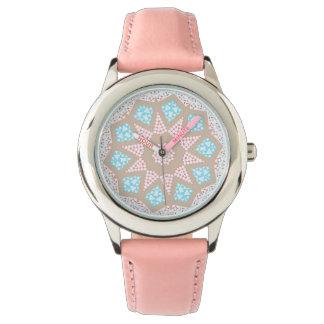 Gentle Pink & Blue Kaleidoscope Wristwatch
