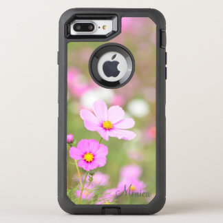 Gentle Pink Flower - with Name OtterBox Defender iPhone 8 Plus/7 Plus Case