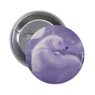 Gentle Winter Polar Bear and Cub Pinback Button