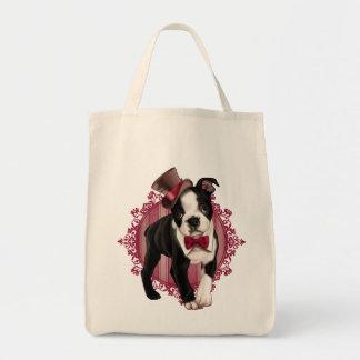 Gentleman Boston Terrier Grocery Tote Bag
