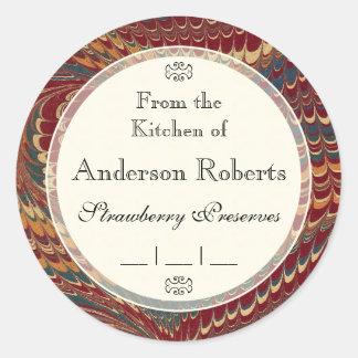 Gentleman Chef s Elegant Marble Canning Labels Round Sticker