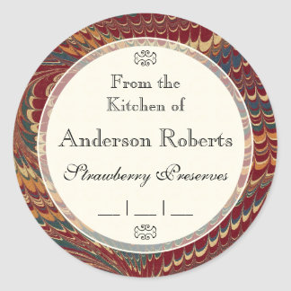 Gentleman Chef's Elegant Marble Canning Labels Classic Round Sticker