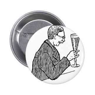 Gentleman Drinking Beer Vintage Illustration 6 Cm Round Badge