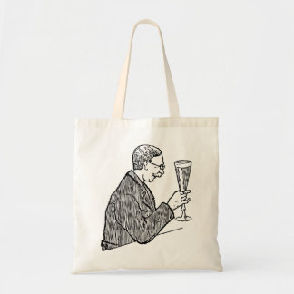 Gentleman Drinking Beer Vintage Illustration Budget Tote Bag