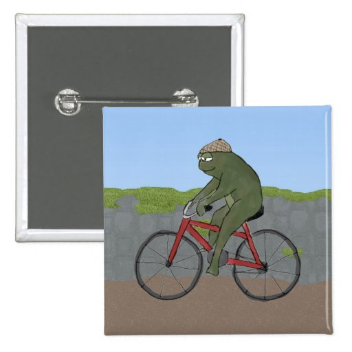Gentleman Frog on a Bicycle Button