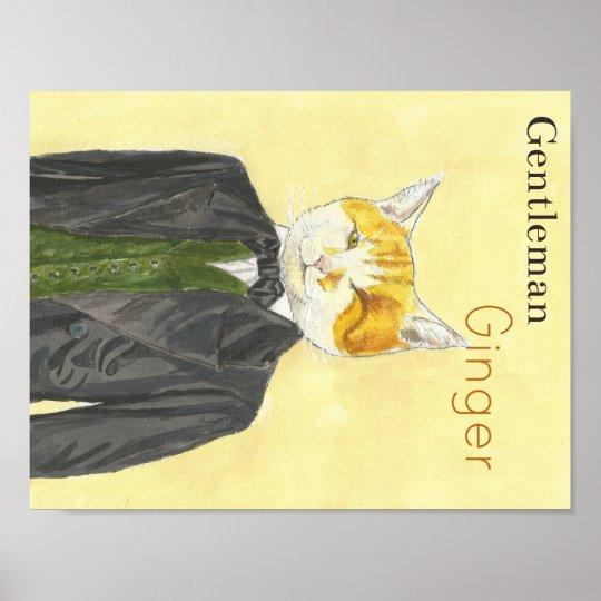 Gentleman Ginger Cat Poster