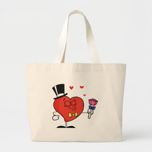 Gentleman Heart Holding Roses Tote Bags
