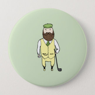 Gentleman in golf club 10 cm round badge