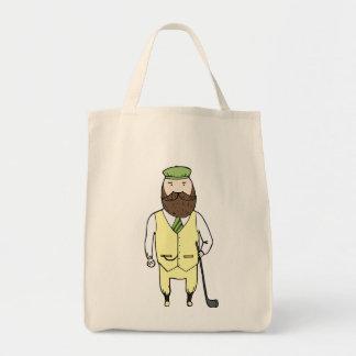 Gentleman in golf club grocery tote bag