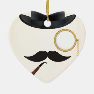 Gentleman Moustache Must-Dash Monacle & Bowler Hat Ceramic Heart Decoration