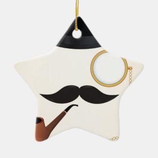 Gentleman Moustache Must-Dash Monacle & Bowler Hat Christmas Ornament