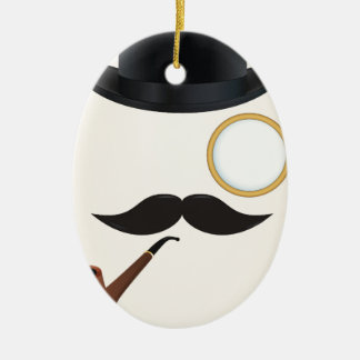 Gentleman Moustache Must-Dash Monacle & Bowler Hat Christmas Ornament