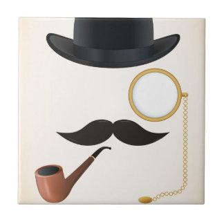Gentleman Moustache Must-Dash Monacle & Bowler Hat Tile