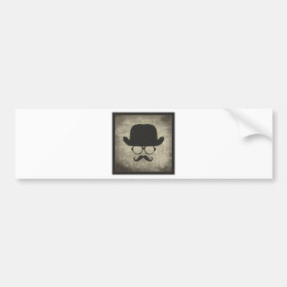 Gentleman Must-Dash Moustache Bowler Hat Bumper Sticker