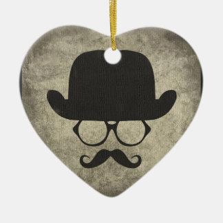 Gentleman Must-Dash Moustache Bowler Hat Ceramic Heart Decoration