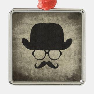 Gentleman Must-Dash Moustache Bowler Hat Christmas Ornament