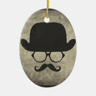 Gentleman Must-Dash Moustache Bowler Hat Christmas Ornament
