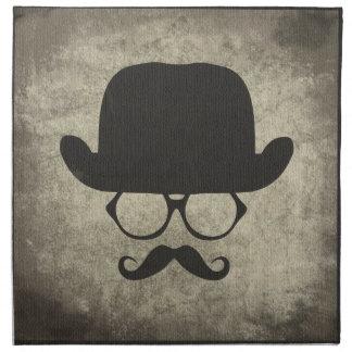 Gentleman Must-Dash Moustache Bowler Hat Printed Napkins