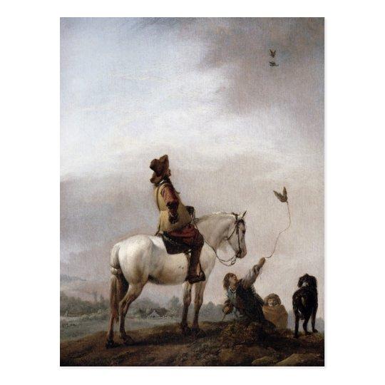 Gentleman on a Horse Watching a Falconer Postcard