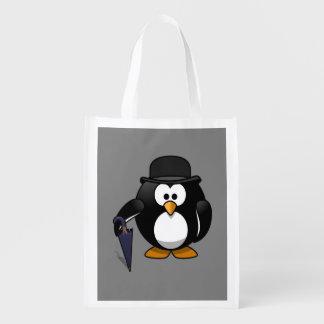 Gentleman Penguin Grey Background
