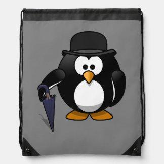 Gentleman Penguin Grey Background Rucksacks
