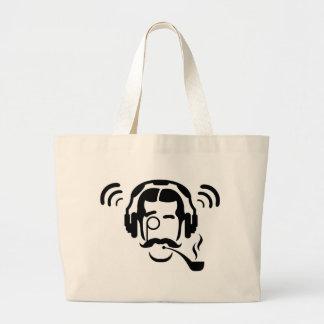Gentleman Pipe and Phones Jumbo Tote Bag