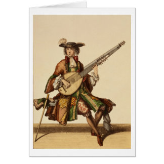 Gentleman Playing the Angelica, fashion plate, c.1 Card