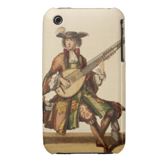 Gentleman Playing the Angelica, fashion plate, c.1 iPhone 3 Case