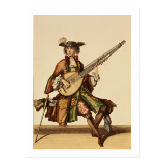 Gentleman Playing the Angelica, fashion plate, c.1 Postcard