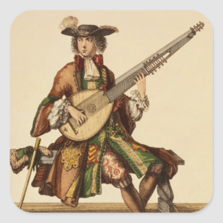 Gentleman Playing the Angelica, fashion plate, c.1 Square Sticker