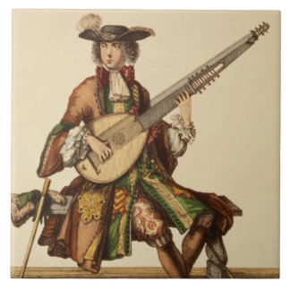 Gentleman Playing the Angelica, fashion plate, c.1 Tile