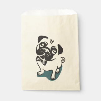Gentleman Pug with a Cute Bowtie. Favour Bags