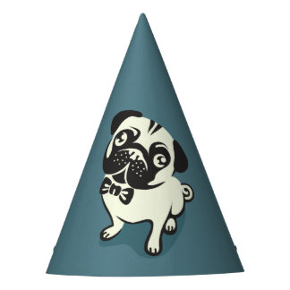 Gentleman Pug with a Cute Bowtie. Party Hat