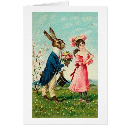 Gentleman Rabbit Courting Lady at Easter Greeting Cards