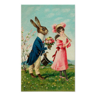 Gentleman Rabbit Courting Lady at Easter Print