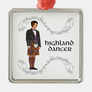 Gentleman Scottish Highland Dancer Silver-Colored Square Decoration