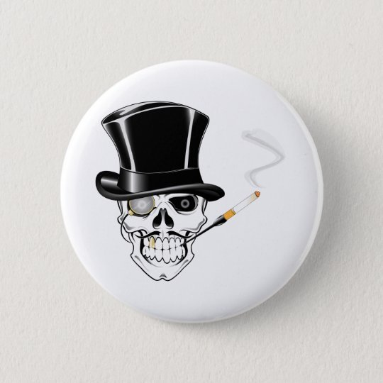 Gentleman Skull 6 Cm Round Badge