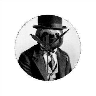 Gentleman Sloth #2 Round Clock