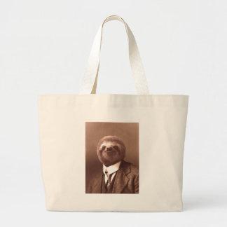 Gentleman Sloth Large Tote Bag