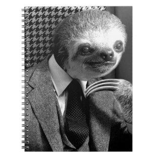 Gentleman Sloth sitting in Fancy Chair Notebook