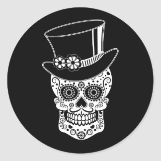 Gentleman Sugar Skull-01 Classic Round Sticker