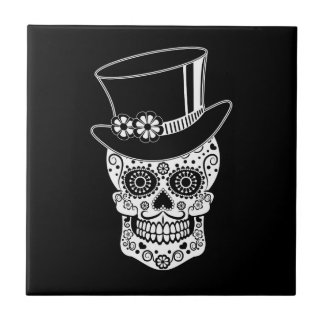 Gentleman Sugar Skull-01 Small Square Tile