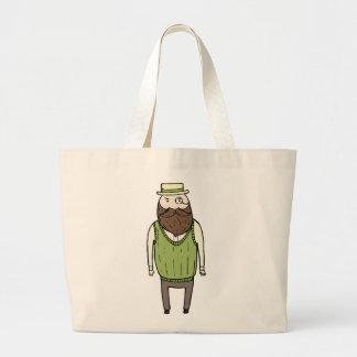 Gentleman with monocle jumbo tote bag