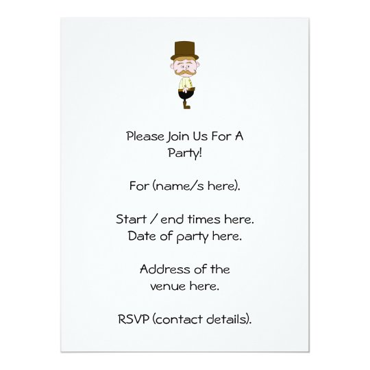 Gentleman with Moustache and Top Hat. Card